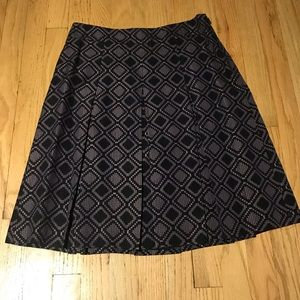 Ann Taylor Black and Purple Diamond Pleated Skirt